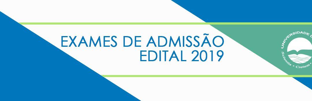 Exames de Admissão – Edital 2018
